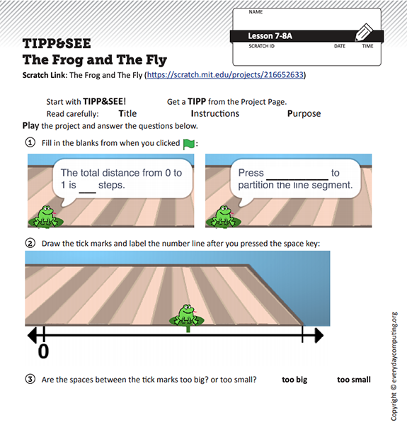 TIPP&SEE worksheet for The Frog and the Fly lesson. TIPP&SEE describes the process students are encouraged to follow: get a 'TIPP' from the project page (Read carefully: Title, Instructions, Purpose, then Play the project), then SEE inside (First click on the Sprite pieces, then find the Event; Explore)
